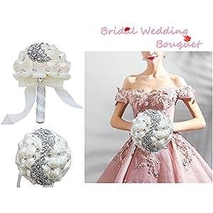 xinni handmade bridal wedding bouquet bride bridesmaid satin rose flower bouquet with meteor shower shape rhinestone wedding decoration turquoise silk flower arrangements