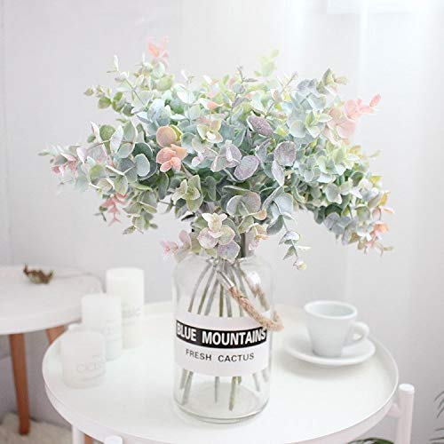 Wbinmysh Künstliche Pflanze 40cm 5pcs Tropical Eucalyptus Künstliche Pflanzen gefälschter Baum-Zweig Kunststoff-Blätter Real Touch Falsch Blume for Haupt Hochzeitsdeko (Color : Natural)