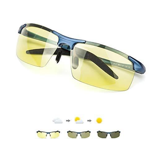 TJUTR Gafas fotocromáticas de visión nocturna para hombre, lentes polarizadas antideslumbrantes, para conducción nocturna, día y noche