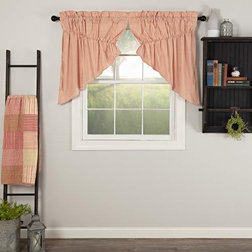 VHC Brands Farmhouse-Kitchen Sawyer Mill Ticking-Rod Pocket Cotton Drawstring Ties Striped-Curtain, Prairie Swag Set 36x36x18, Red
