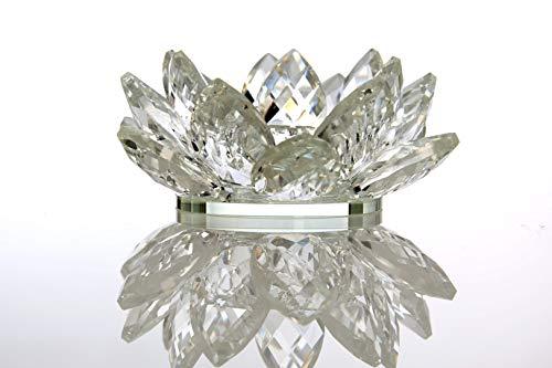 VOGUISH Teelichthalter Kerzenhalter Teelichtständer Dekoartikel Kristallglas Blüte Blume Deko Wohnung Wohnzimmer Esstisch Lotus