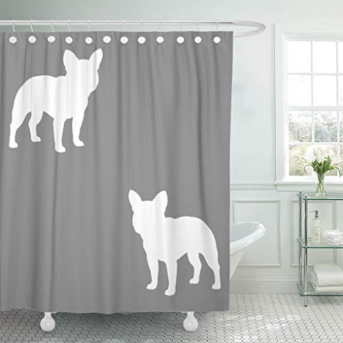 Semtomn Shower Curtain Frenchie French Bulldog Silhouettes Pattern Frenchy Dog Pets Animals 72'x78' Home Decor Waterproof Bath Bathroom Curtains Set with Hooks