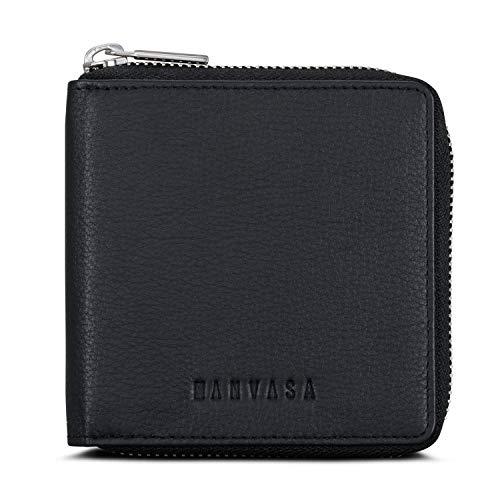 Cartera Cuero Hombre Negro - KANVASA Zipped Porta Tarjetas de Cuero Monedero de Mujer con Cremallera - Unisex Wallet con Bloqueo RFID 12 Huecos para Tarjetas y Monedero