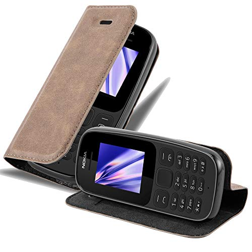 Cadorabo Custodia Libro per Nokia 105 Dual in Rosso Mela - con Vani di Carte, Funzione Stand e Chiusura Magnetica - Portafoglio Cover Case Wallet Book Etui Protezione