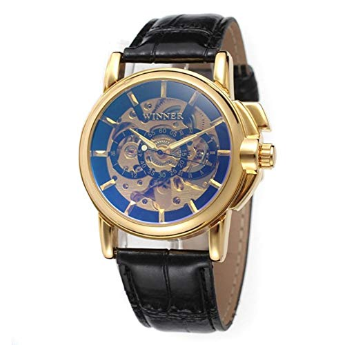 TIANJJ Reloj de Pulsera Winner Skeleton Gold Watch Retro Designer Rectangle Black Leather Men Casual Watch Marca Automatic Mechanical Watch Auto