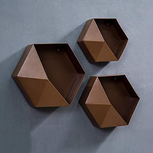 XCJJ Estantería hexagonal de hierro forjado Estantería de pared para comedor, marrón, (25Cm, 30Cm, 35Cm) Estante