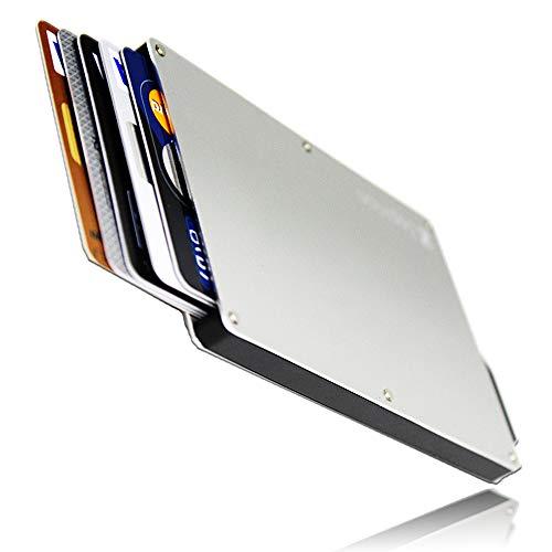 [zepirion] クレジットカードケース スキミング防止 磁気防止 スライド式 スリム マネークリップ付き アルミニウム シルバー