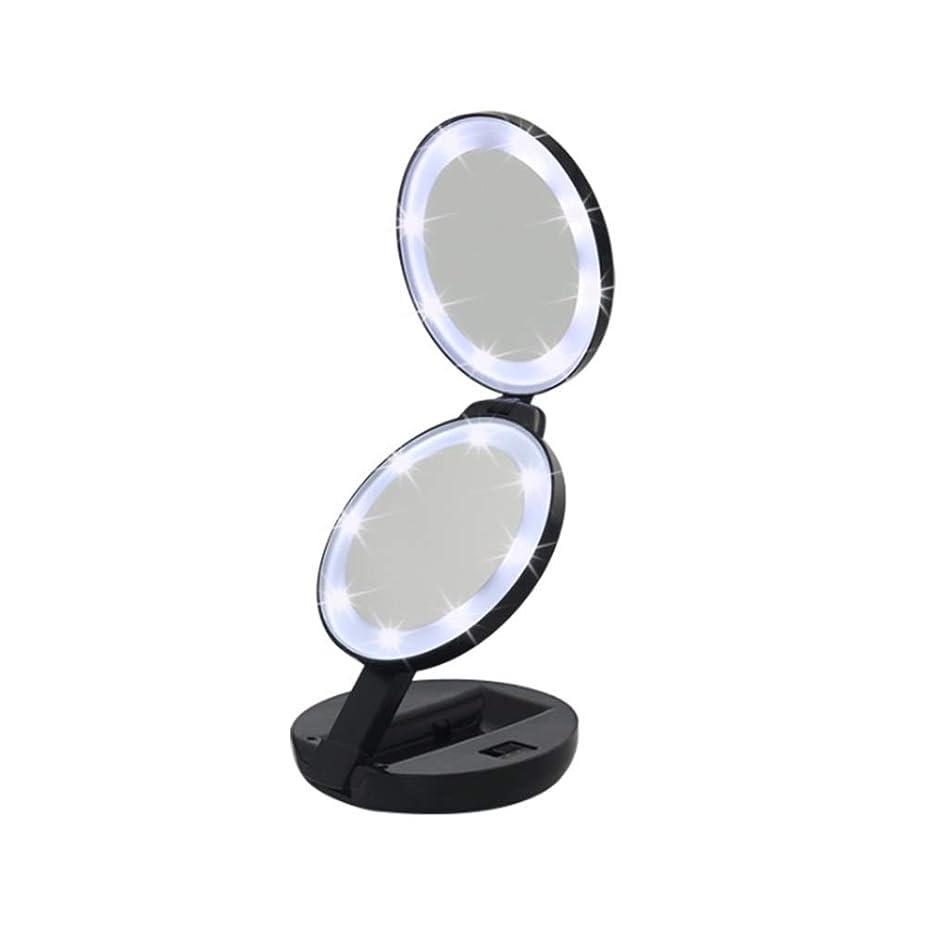 印象派休憩意味化粧鏡 二重側面はライトが付いている化粧の虚栄心ミラーを導きました5倍の倍率の自然光のコンパクトのポケット旅行ミラー毎日の使用のために電池式 メイクアップに最適 (色 : ブラック, サイズ : Free size)