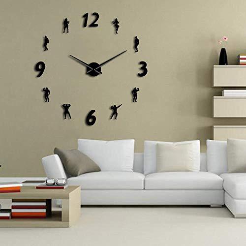 Gimnasio Grandes Relojes de Pared DIY Frameless Wall Watch Reloj Moderno diseño Gimnasio Sala de Fitness Arte Arte Culturismo DIY Reloj entusiastas Regalo (Negro,27inch) Banda de Rock Arte decoració