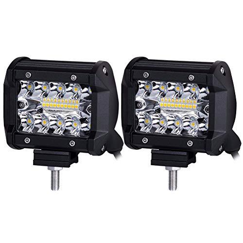 PoJu Barre de lumière LED Lampe de conversion automatique de la lampe en alliage d'aluminium Shell Boîtier étanche Lampe extérieure auxiliaire étanche 60W Réparation des lampes de travail (une paire)