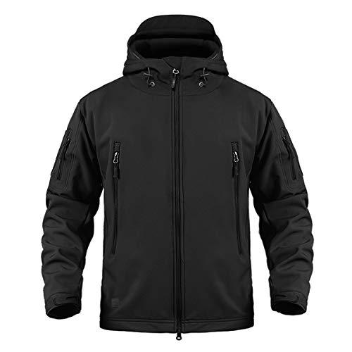 CRYSULLY Men's Tactical Softshell Jacket Fleece Lining Hunting Jackets Windbreaker Coat Black