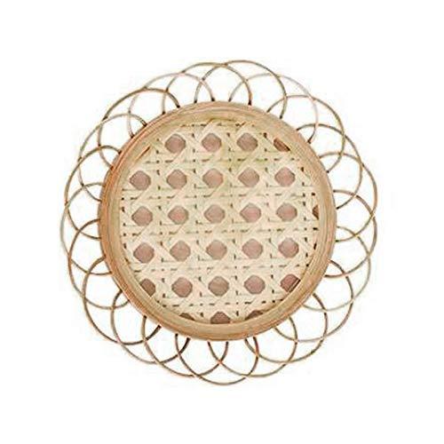 æ— Posavasos de mimbre de bambú hechos a mano, paquete de 4 posavasos tejidos, resistentes al calor, para decoración de mesa de cocina en el hogar