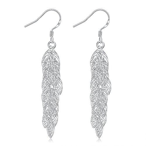 Pendientes colgantes de plata de ley 925 con diseño de lujo, para decoración de orejas