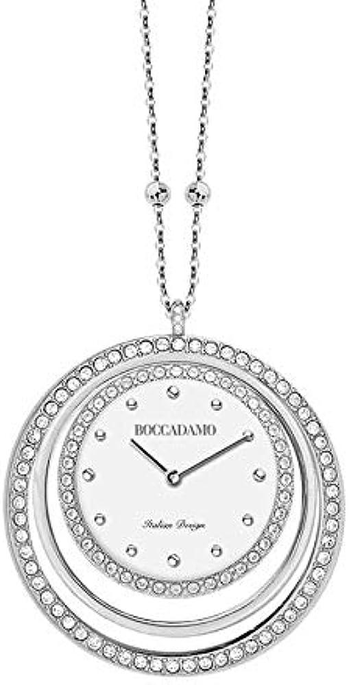 Boccadamo, collana-orologio in bronzo rodiato con pendente concentrico in cristalli swarovski ,per donna Tl01