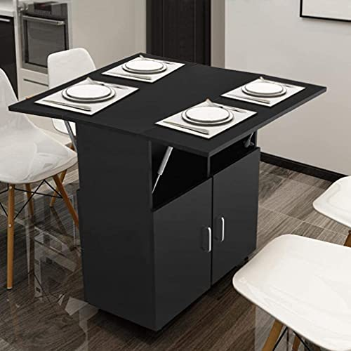 Kitchen Island with Storage on Wheels, Black Folding Dining Table, Kitchen Cart Trolley, Buffet Cabinet, Storage Cabinet, Spice Rack for Kitchens Dining