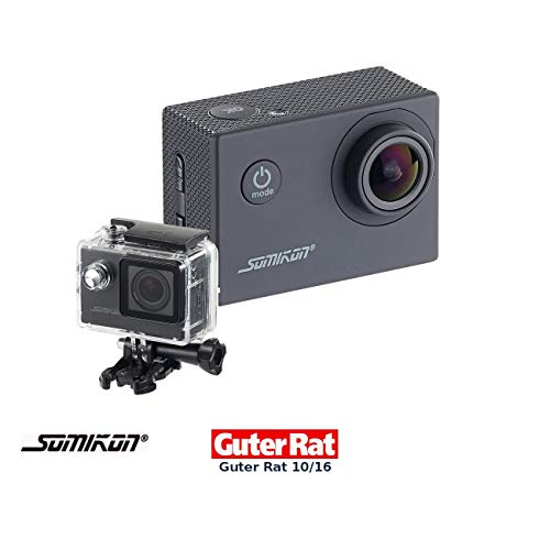 Somikon Action Kamera: Einsteiger-4K-Action-Cam, WLAN Full HD (60 fps) mit Unterwassergehäuse (Motorrad Kamera)