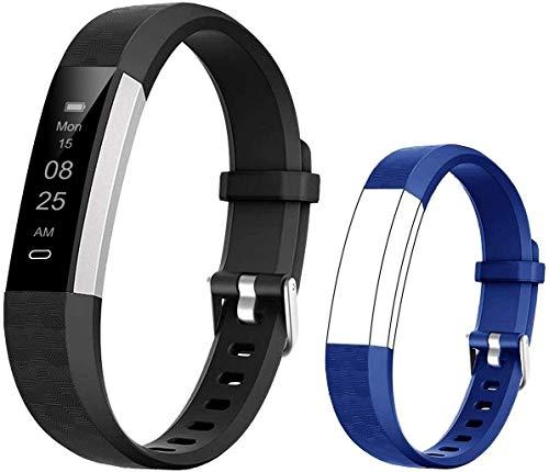 BIGGERFIVE Fitness Armband für Kinder, Schrittzähler Uhr Fitness Tracker mit Kalorienzähler und Schlafmonitor, Wasserdicht Aktivitätstracker Armbanduhr mit Vibration Wecker (Schwarz Blau)