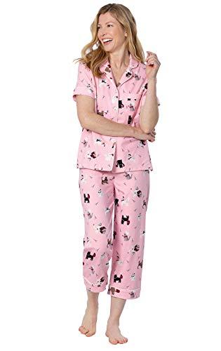 PajamaGram Cat Pajamas for Women - Short Sleeve Pajamas for Women, Pink, XS, 2-4