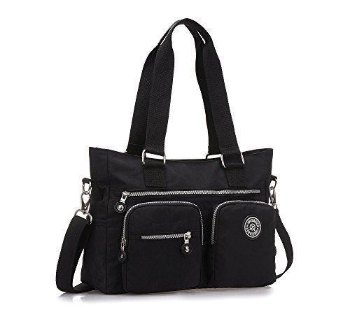 Bolso Hombro Mujeres, Popoti Bolso Bandolera Mochila Nylon Mano Bolsa de Mensajero Crossbody Bag para Diario Viaje Shopper (Negro)