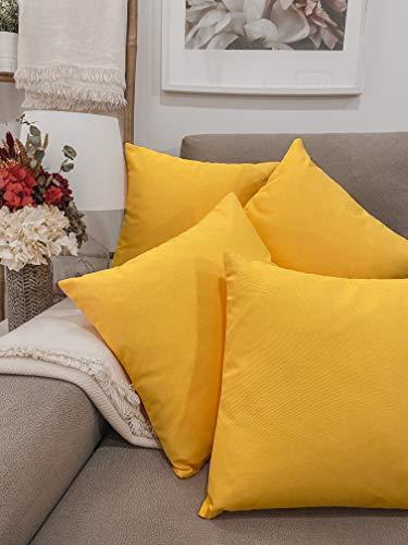 Pack 4 fundas de cojines para sofá EFECTO LINO suave, 16 COLORES fundas para almohada sin relleno, cojín decorativo grande para cama, salón. Almohadón elegante en varios tamaños.(Amarillo, 45x45cm)