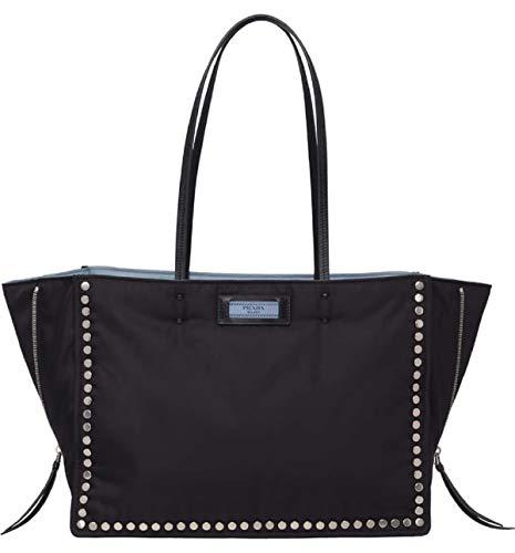 Prada Etiquette Astrale Black Tessuto Nylon Studded Tote Bag 1BG118