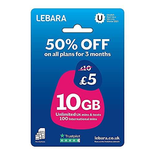 Lebara UK SIM-kort, 10 GB för 10 pund, halvt pris för de första 3 månaderna, inget kontrakt, betala när du går SIM, samtal i Storbritannien, brittiska texter och internationella samtal ingår, flera storlekar (nano/mikro/standard), passar alla enheter