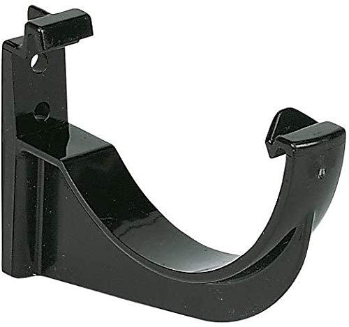 Floplast RKM1BL 76mm Fascia Bracket - Black - Half Round, 50mm Downpipes & 76mm Miniflo Guttering for shed, Porch, Conservatory, Out Building - 12 Pack