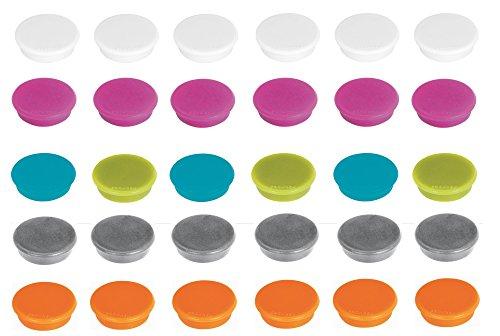 Franken Magnete Haftmagnete für Whiteboard, Kühlschrank, Magnettafel, Magnetwand, farblich sortiert in trendigen Farben: perlweiß, pink, hellblau, hellgrün, silber, orange, 30 Stück