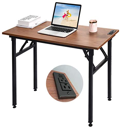 Frylr Small Folding Writing Desk with USB Ports & Power Plugs 31.5x15.7x29 Inch Small Office Computer Desks Portable for Home Office, Foldable Student Study Tables for Small Space, Walnut+ Black