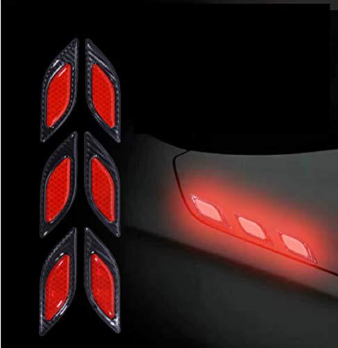 TRUE LINE Automotive Carbon Fiber Reflective Door Fender Flare Marker Trim Molding 6PC (Inner Red)