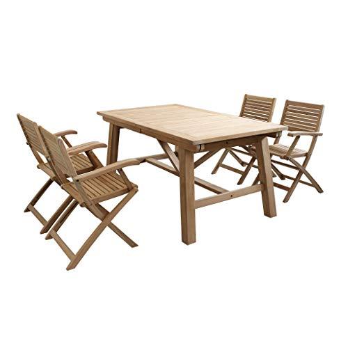 Set Tavolo e sedie da Giardino per Esterno in Legno Resistente di Teak cm 160/240 x 90 x 77 h con 4 sedute