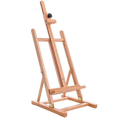"""U.S. Art Supply Medium Tabletop Wooden H-Frame Studio Easel - Artists Adjustable Beechwood Painting and Display Easel, Holds Up To 27"""" Canvas, Portable Sturdy Table Desktop Holder Stand - Paint Sketch"""