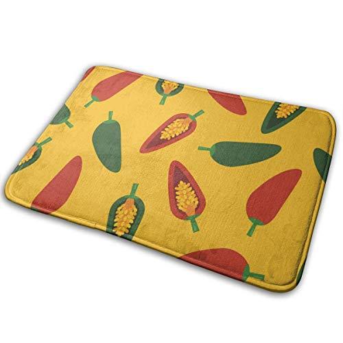 Sdltkhy Badteppiche und -matten aus grünem und rotem Pfeffer Memory Foam-Badematten rutschfeste, weiche, saugfähige Badteppiche Gummirückenmatte für Badezimmerböden in der Küche 15,7