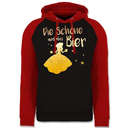 Shirtracer Typisch Frauen - Die Schöne und das Bier - L - Schwarz/Rot - Spruch - JH009 - Baseball Hoodie