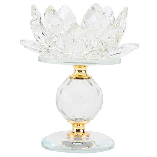 Garneck Kristall Lotus Kerzenhalter Glas Lotus Blume Teelichthalter Kerzenständer Kerzenleuchter Buddhistisch Kandelaber Leuchtturm Halter für Büro Hochzeit Tischdeko Tansparent