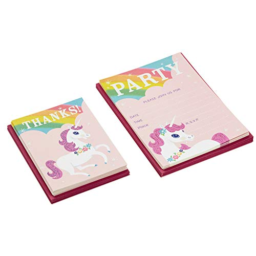 Hallmark Rainbow Unicorn Invitations and Thank You Cards Set (Pack Includes 10 Invites and 10 Thank You Notes)