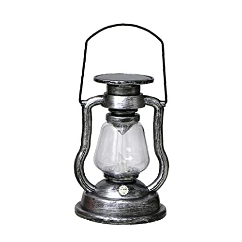 fregthf Lámpara de Aceite de Queroseno Solar Quema lámpara Vintage Colgando clásico Retro keroseno Mesa linternas Plata