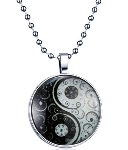 Yumilok Tai Chi Yin Yang - Colgante de aleación que brilla en la oscuridad, para hombre y mujer, luz azul