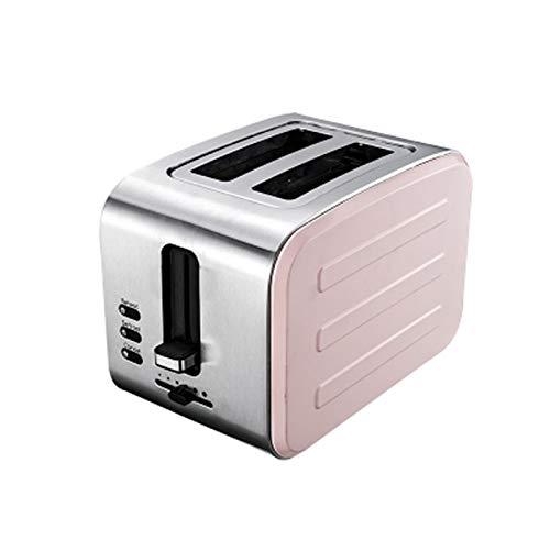 WANGYIYI 900W Tostadora automática 2 rebanadas Ranura Tostadora Hogar Pan Desayuno 6 Engranajes Máquina de Desayuno Servicio DE Acero INOXIDACION CALEFACCIÓN 220V (Color : Pink)
