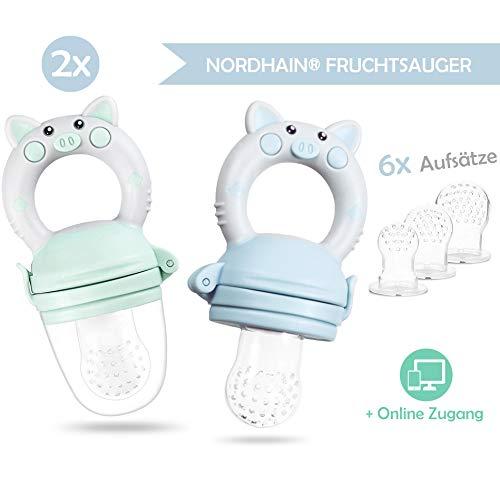 Nordhain Fruchtsauger Set 2020 Blau für glückliche Babys - helfender Freund für besonderes Geschmackserlebnis - schmerzlindernder Beißring & Fruchtschnuller zugleich