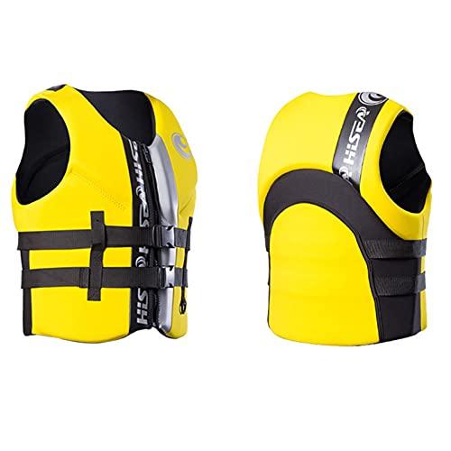 Chaleco salvavidas para adultos Chaleco de flotabilidad ligero Chaleco de neopreno unisex con correa de seguridad ajustable para navegar en bote,Amarillo,XS