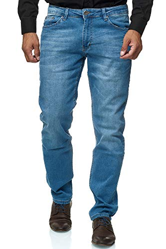 Jeel Herren-Jeans - Regular Fit Straight Cut - Stretch - Jeans-Hose Basic Washed 02-hellblau 33W / 32L