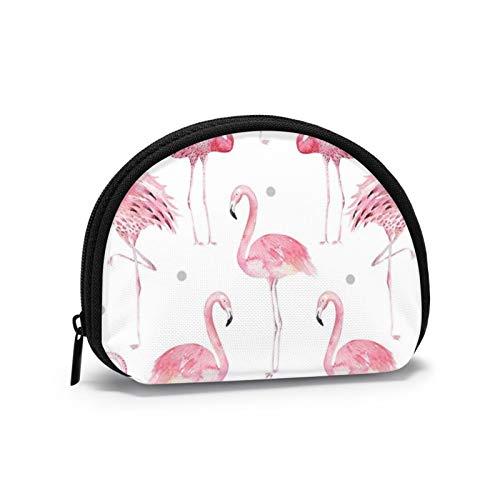 Monedero pequeño con diseño de flamencos rosas y lunares grises con cierre para mujeres y niñas