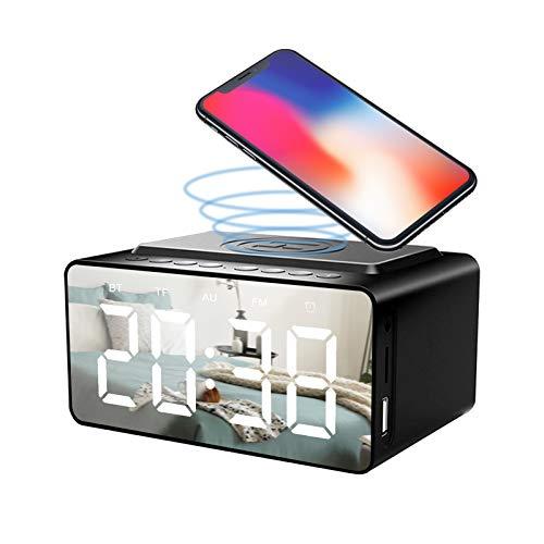 Clenp Altavoz Bluetooth, Cabecera Grande Pantalla LED HD Reloj Despertador Radio Altavoz BLE Cargador Inalámbrico con Puerto USB para Teléfono Móvil