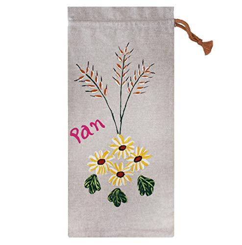 Morla Bolsa Pan Artesanal Decorativa para Cocina. 100% Hecha a Mano, ecológica, Reutilizable y respetuosa con el Medio Ambiente (Eco Friendly). Tamaño Grande 54x25cm (Margaritas)
