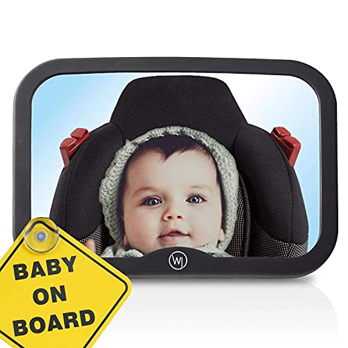 Wicked Chili Specchio di Automobile Bambino con Segno Baby on Board, infrangibile, Campo visivo XXL 21,5 x 14,5 cm Specchio di Sicurezza per reboarder seggiolino Bambini ISOFIX maxicosi