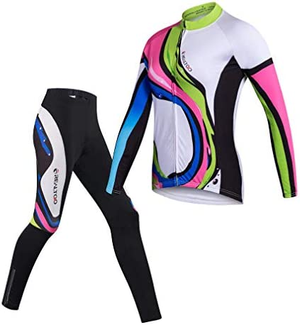 Womens Cycling Jersey Set Long Sleeve Breathable 3D Gel Padded Pants Full Zip Riding Wear UV product image
