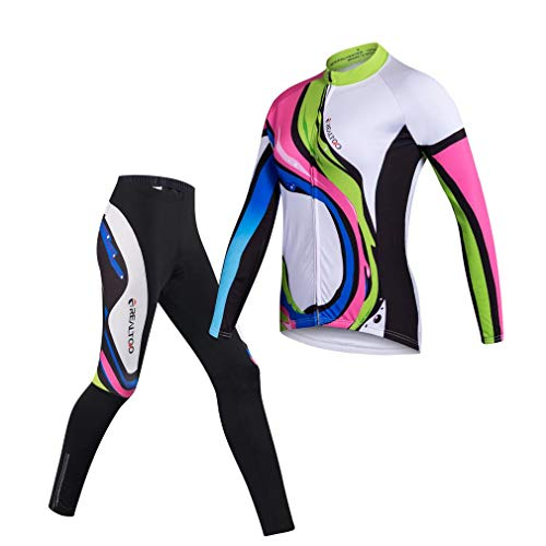 Womens Cycling Jersey Set Long Sleeve Breathable 3D Gel Padded Pants Full Zip Riding Wear UV Protection