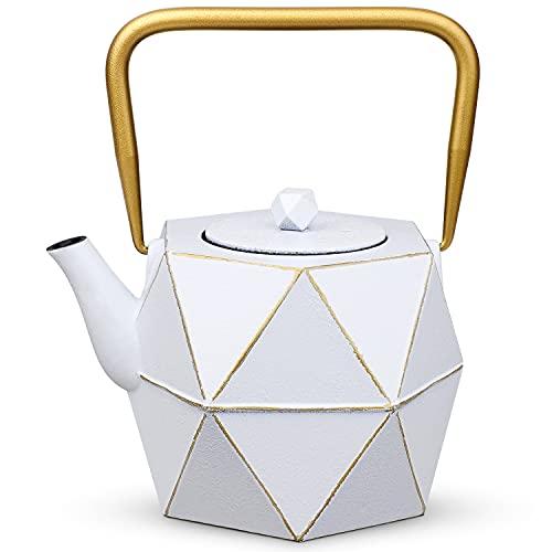 Toptier Cast Iron Teapot, Stovetop Safe Japanese Cast Iron Tea Kettle, Diamond Design Tea Pot with Removable Infuser for Loose Tea, 30 Ounce (900 ml), White