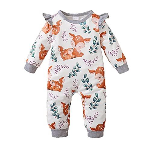 Mameluco de manga larga con estampado floral para recién nacido, con cuello redondo y volantes, Gris - Estampado de zorro, 3-6 Meses